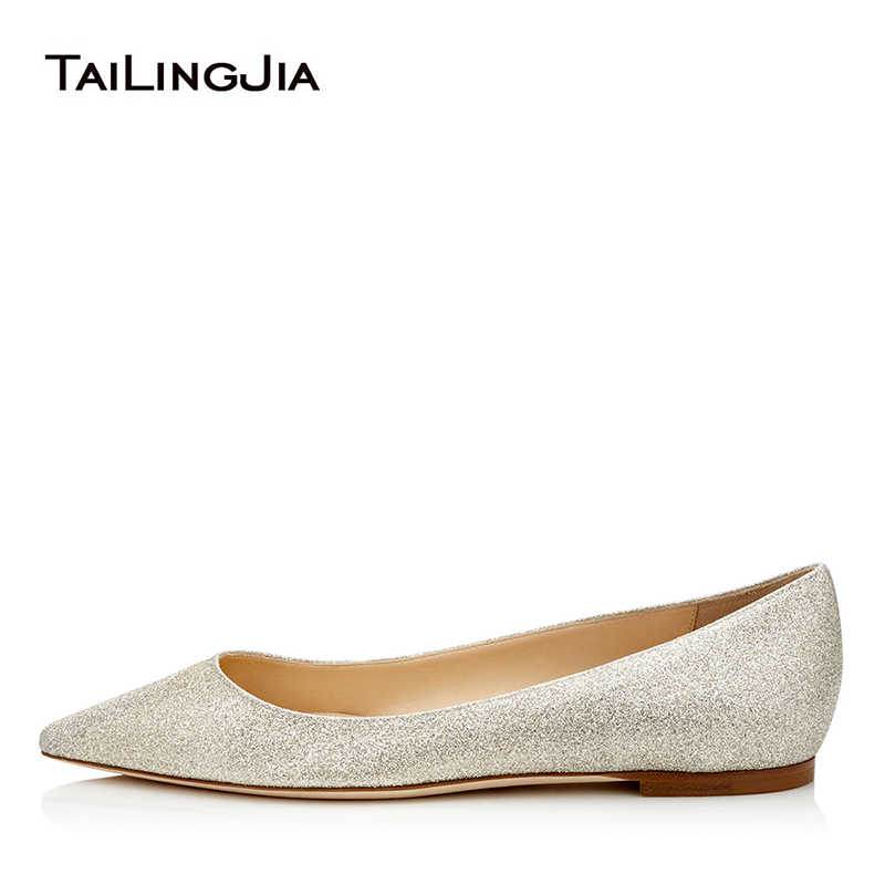 Women Comfort Pointed toe White Ballet Flats Slip on Sliver Glitter Wedding Shoes  Ladies Spring Summer 1cae62f0cd37