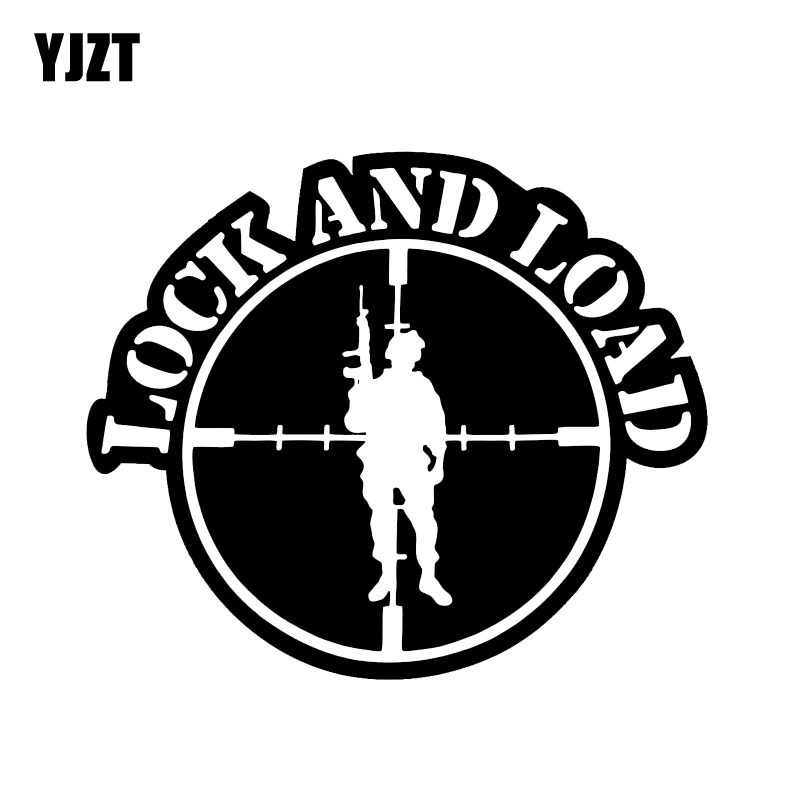YJZT 14*11.9CM Interesting Gun LOCK AND LOAD Graphic Car Sticker Vinyl High Quality Motorcycle Accessories C12-0272