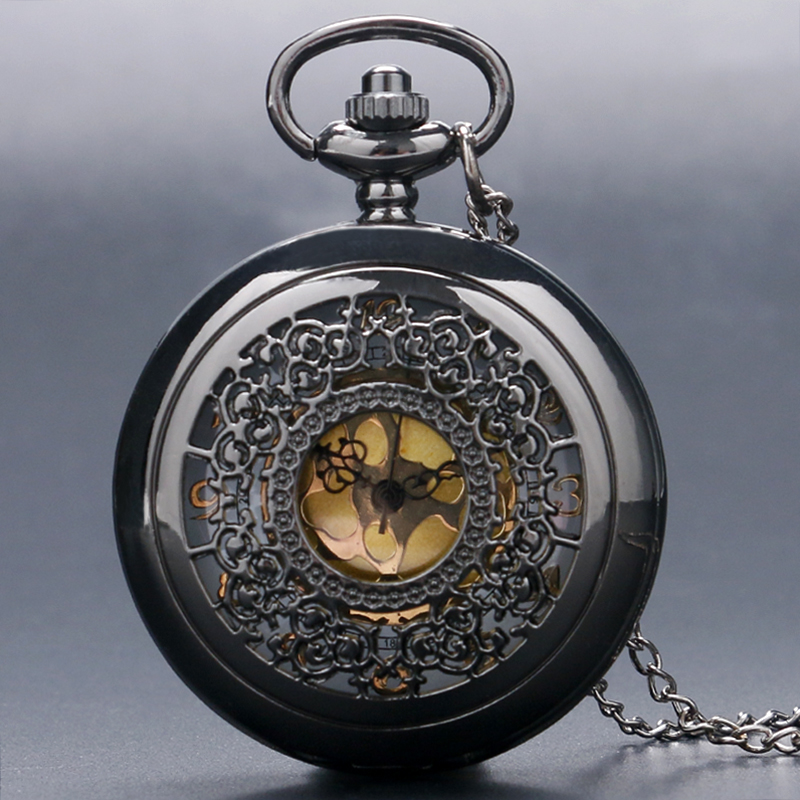 Antique Steampunk Black Hlaf Hunter Stainless Steel Carving Quartz Pocket Watch Unisex Pendant Gift With Necklace Chain