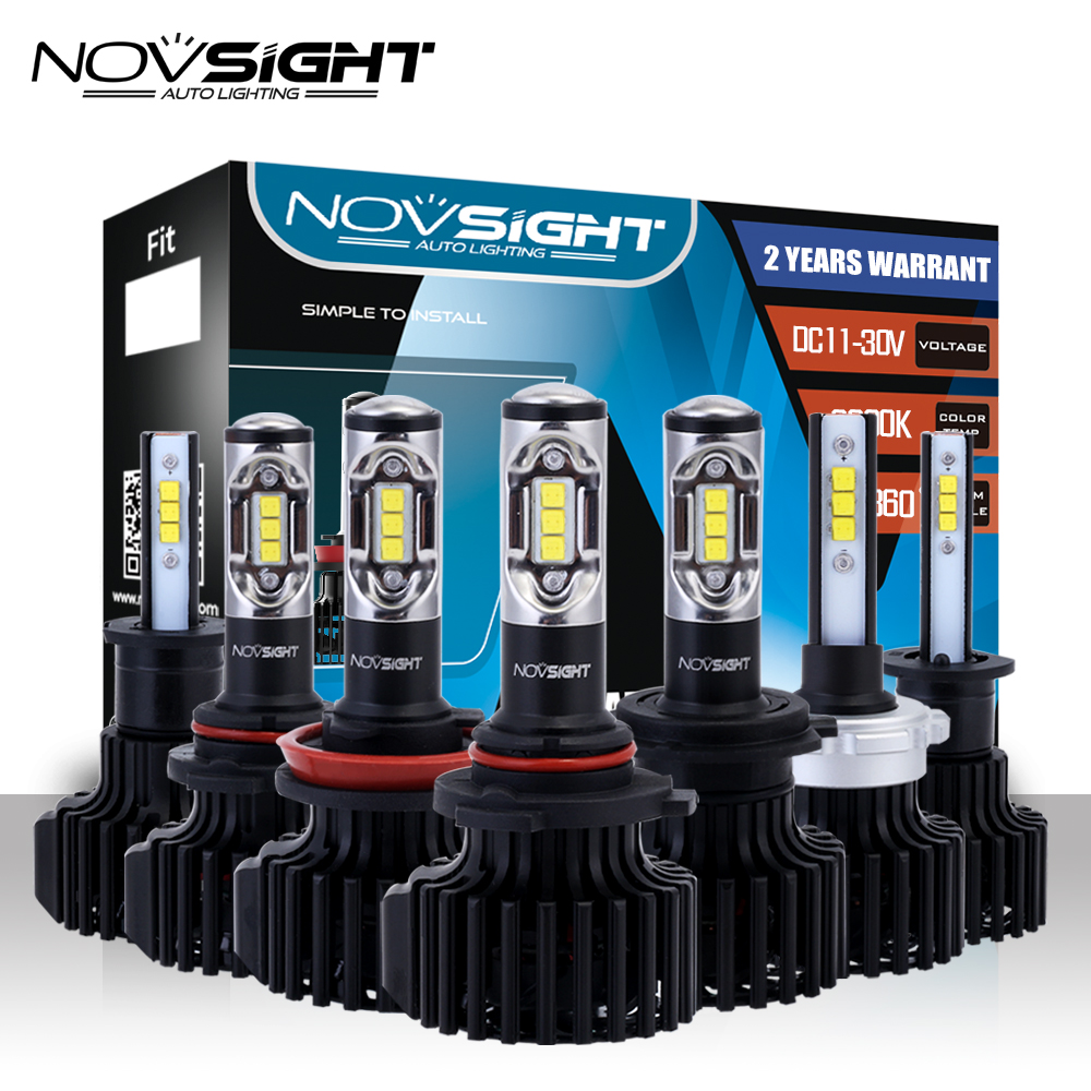 NOVSIGHT H15 H4/HB2/9003 Car LED Headlights 60W 12000LM 9006 9005 H7 H11/H8/H9 H1 H3 Fog Lights Cool White 6000K Fog Lamps nighteye h1 9006 car led headlights 12v 60w 1800lm fog lights bulbs copper heat conduction 6000k white led fog lamps 2 pcs