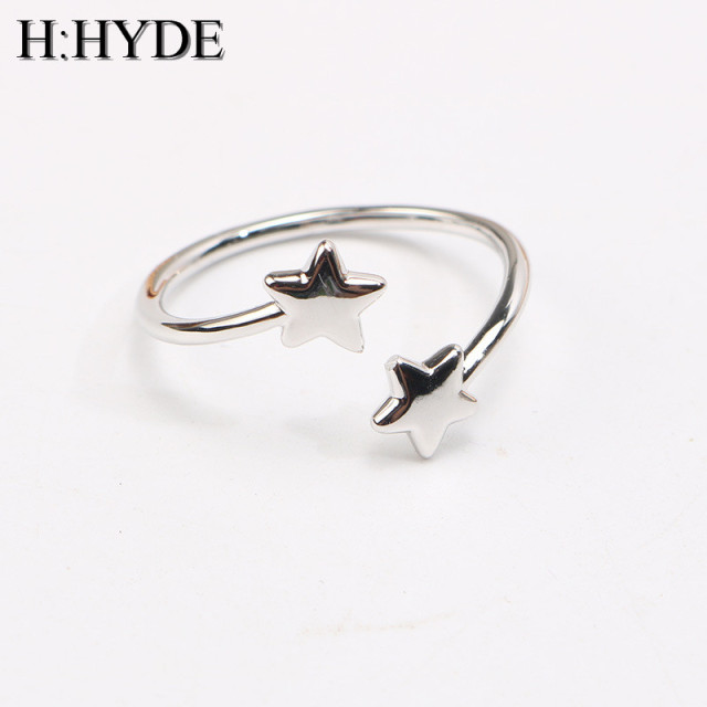 H:HYDE New Trendy Adjustable Triangle Star Crown Heart Open Ring anel feminino S