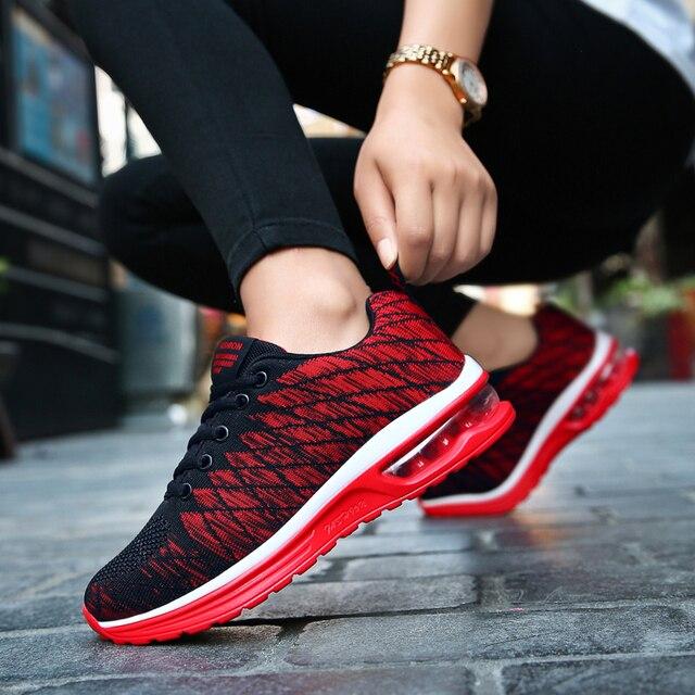 Surom Outono Sapatos de Absorção de Choque Almofada de Ar Dos Homens Malha Respirável Calçados Casuais dos homens Lace Up Sneakers Moda sapatos masculinos adulto