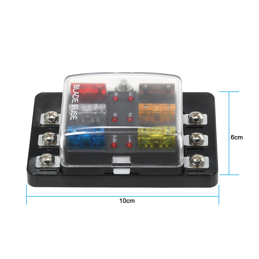 Kkmoon 12v 24v 6 Way Blade Fuse Box With Led Indicator Block Car Panel For Boat Marine Caravan In Fuses From Automobiles Motorcycles On