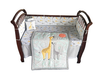 Promotion! 8PCS embroidery cot bedding set bed set bed around ,include(4bumper+duvet+bed cover+bed skirt+pillow)