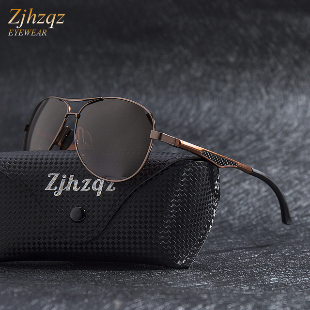 21dee90120f ZJHZQZ Hot Brands Luxury Aluminum Magnesium Polarized Brown Sunglasses Men  Design Driving Sun Glasses Women Black Lens Goggles