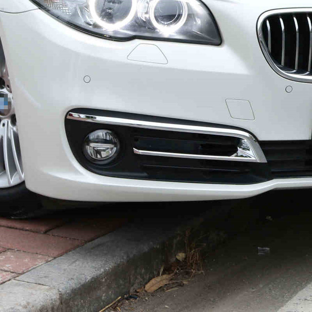 5d382dcd9872 Chrome Front Fog Lamp Frame Decoration Cover Trim Strip Exterior Accessories  Car styling for BMW 5 Series 520i528i F10 F18 14-17