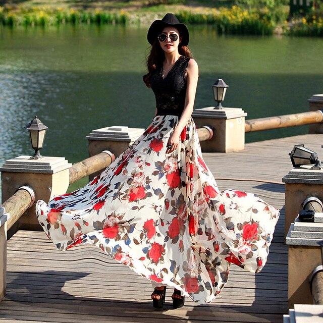 8735d397ae9 Summer long skirts women s elastic waist floral print bohemian chiffon  beach skirts