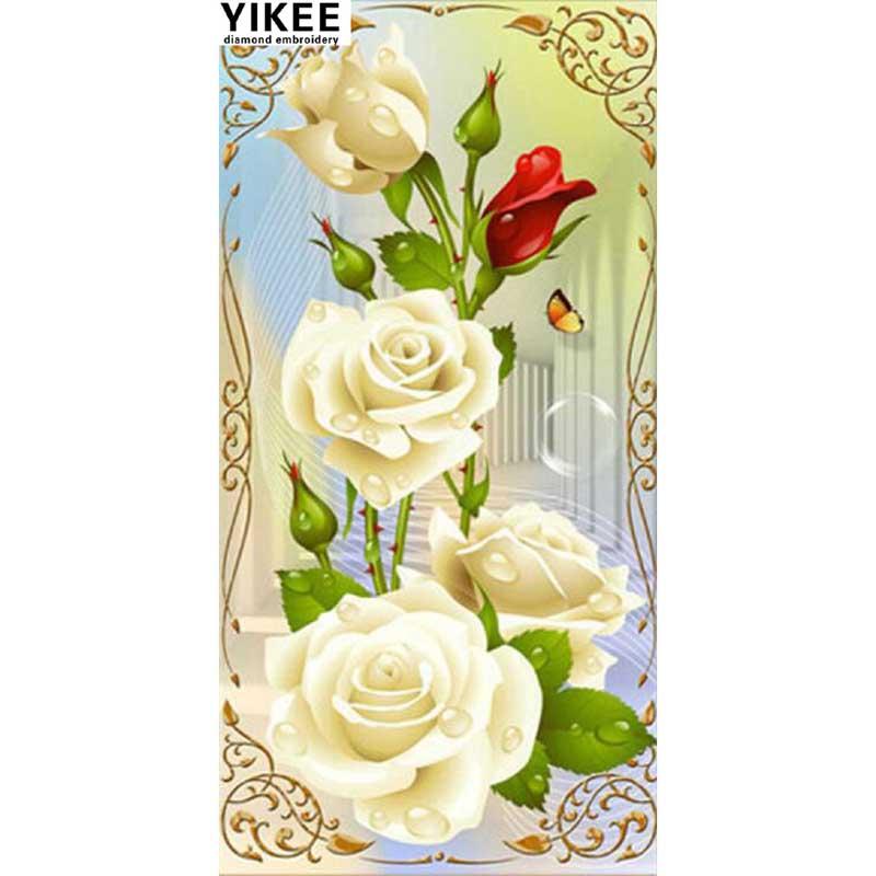 YIKEE A6123 haft pełny kwadratowy diament, białe kwiaty, diamentowe - Sztuka, rękodzieło i szycie