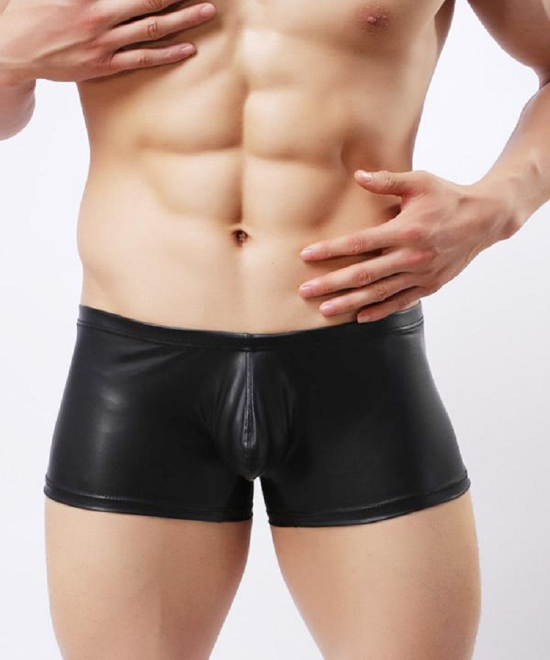 Erotic Men Boxer Underwear Top Quality Sexy Stretch Low Waist Underpants Fetish Sheath Black Faux Leather Solid Underwear