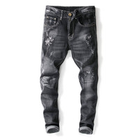 Newsosoo Fashion Men Ripped Embroidered Jeans Pants Black Straight Distressed Denim Trousers With Flower Embroidery Size 29 38