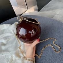 Female Fashion Clutch Bag Ball Shape Round Shoulder Messenger Bag Ladie Party Wedding Chain Clip Bag Metalic Ring Handle Handbag