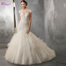 Detmgel Elegant Cap Sleeve Appliques Scoop Neck Mermaid Wedding Dresses 2019 Luxury Beaded Backless Trumpet Bride Gown Plus Size