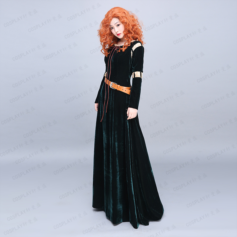 cartoon brave Princess Merida gown princess cosplay dress medieval dress/can customs size