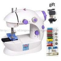 Mini Điện Đa Hộ Gia Đình Sewing Machine Sew Kép Stitch Tốc Độ Gấp Đôi Nhà Di Động giường phẳng với Bộ Chuyển Đổi Điện