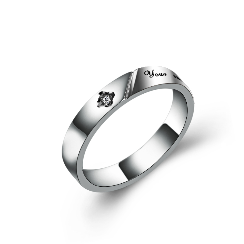 2018New Design Letter Rhinestone Titanium Steel Heart-shaped Puzzle Rings Hold Hands Couple Rings Fine Jewelry for women man