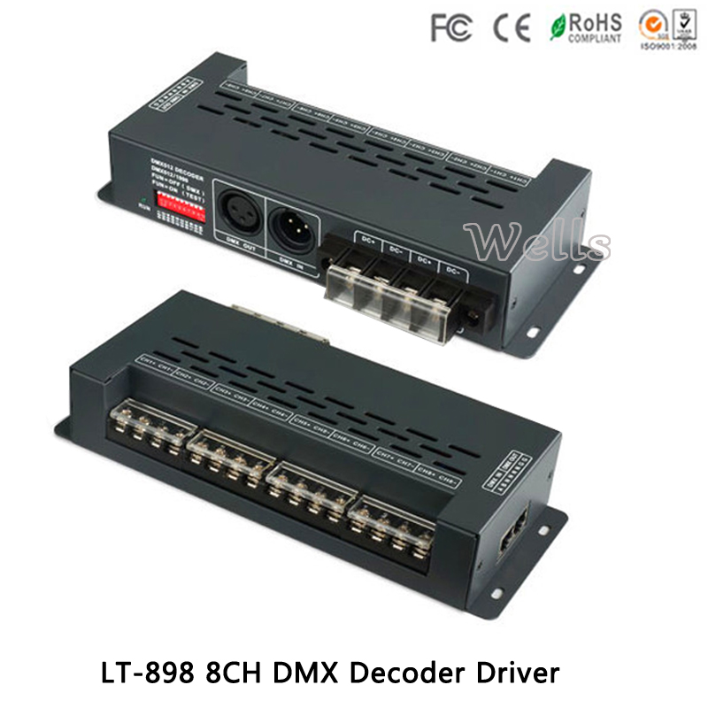 New led Controller LT-898 DMX Decoder Converts 6 RGB strip Driver DMX512 Decoder XLR-3 RJ45 Port 12V Multi 8 Channel Output 24ch 24channel easy dmx512 dmx decoder led dimmer controller dc5v 24v each channel max 3a 8 groups rgb controller iron case