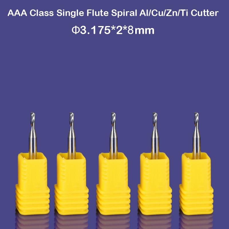 5pcs/lot SHK 3.175mm CED 2mm CEL 8MM CNC Tools Carbide Engraving Router Bits Single Flute Aluminum End Mill Cutter For Aluminum