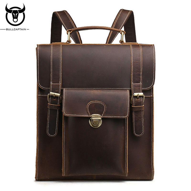 BULL CAPTAIN Crazy Horse Cowhide Backpack Brand Vintage Genuine Leather Single Shoulder Bag Women Men School Daypack Knapsack hot sale women s backpack the oil wax of cowhide leather backpack women casual gentlewoman small bags genuine leather school bag
