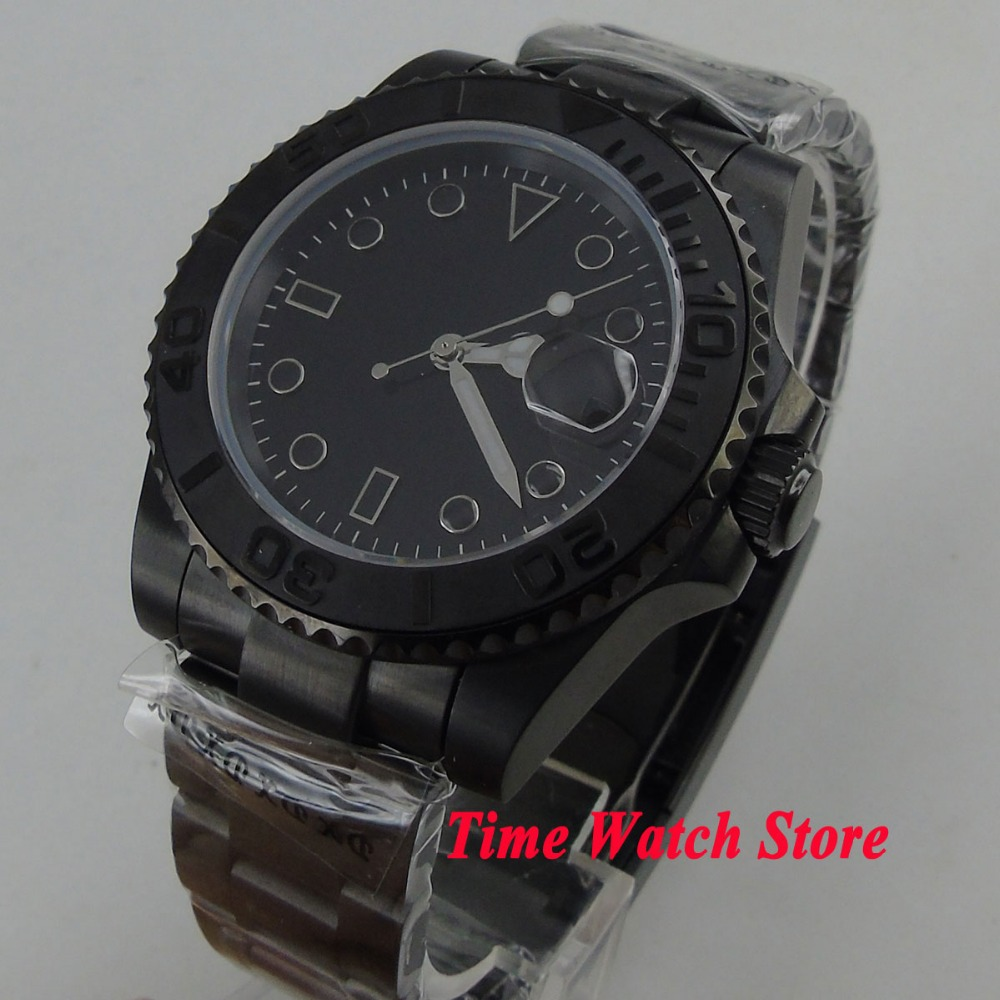 40mm BLIGER black sterile dial luminous black marks Ceramic Bezel PVD case sapphire glass Automatic movement  Mens watch 14840mm BLIGER black sterile dial luminous black marks Ceramic Bezel PVD case sapphire glass Automatic movement  Mens watch 148