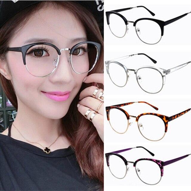 3dfe6825d76 Semi-rim half frame Women vintage Eyeglasses Frame adjustable nose pad retro  oval frames clear lens oculos cat eye