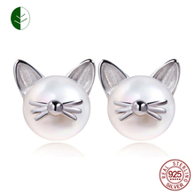 Fashion 925 Sterling Silver Cute Cat Whisker Stud Earring Freshwater Cultured Pearl Ear Studs Jewelry Gift Wholesale ZK30