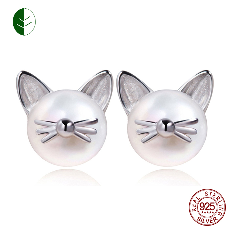 Fashion 925 Sterling Silver Cute Cat Whisker Stud Earring Freshwater Cultured Pearl Ear Studs Jewelry Gift