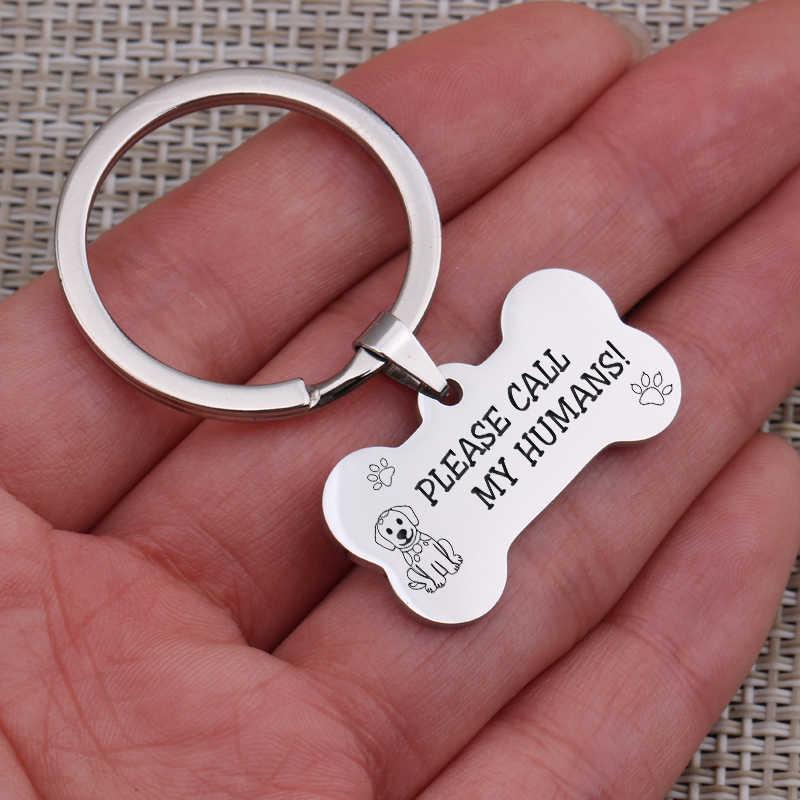 Charm Mini สุนัข ID Key Chain สัตว์เลี้ยงจี้เครื่องประดับแกะสลัก Call My มนุษย์สุนัขสัตว์เลี้ยงอุปกรณ์พวงกุญแจ Key fob Bone Shape