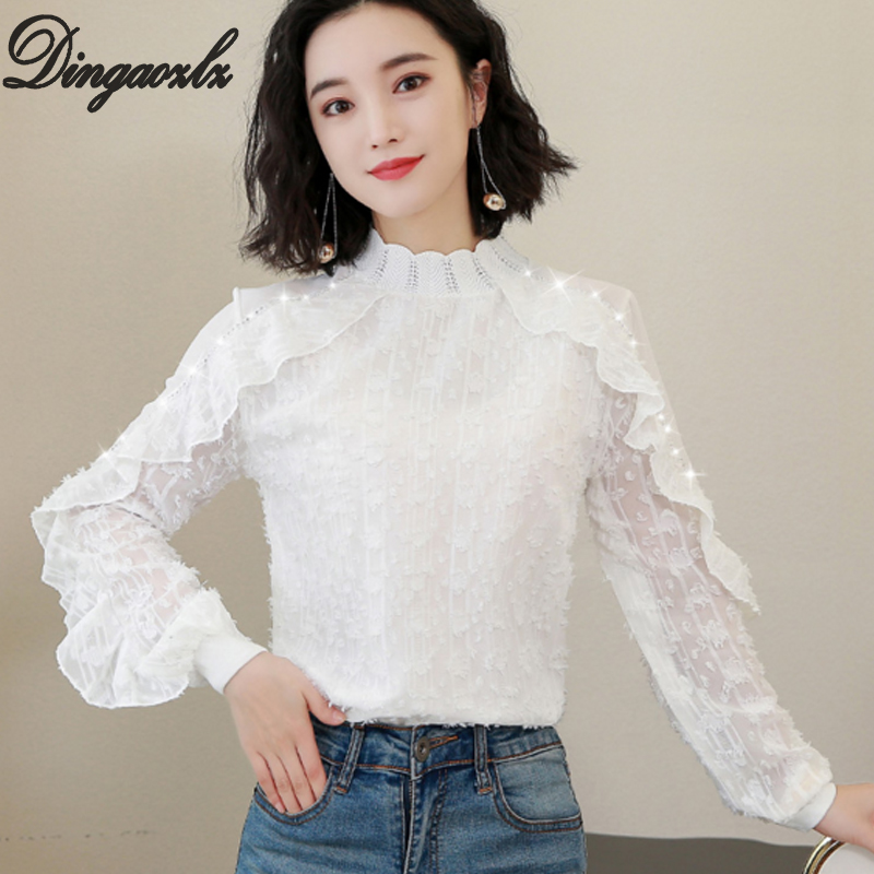 Women's Clothing Liberal Dingaozlz Ruffles Lace Tops Elegant Long Sleeve Chiffon Shirt Korean Women Clothing Casual Chiffon Blouse 2019 New Bright In Colour