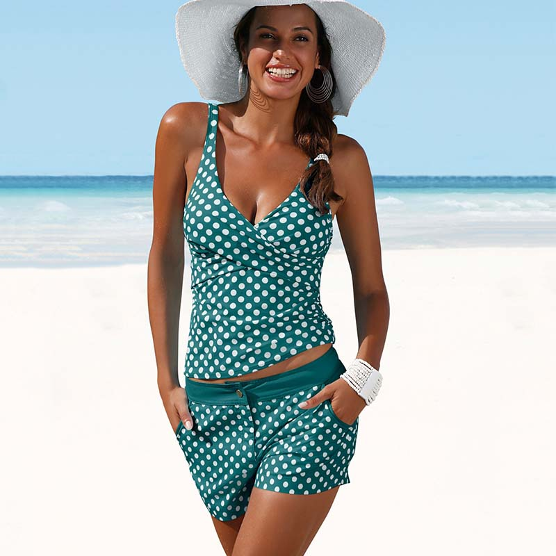 Women Plus Size S-2XL Swimwear Two Pieces Tankini Padded Bathing Suit Polka Dot High Waist Bikini Set Beachwear Swimsuit polka dot padded plus size tankini set