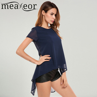 Meaneor Women Casual Batwing Sleeve Asymmetrical Hem Back Split Chiffon Top With Lining