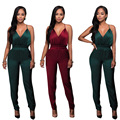 New 2017 Spring Women Sleeveless Hollow Out Bodycon Backless Rompers and Jumpsuits Sexy Wine Red Green Strap Club Party Outfits