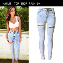 HANLU New Arrival High Waist Ripped Jeans Women Full Length Zipper High Strench Pencil Slim Fit Skinny Holes Jeans Pants