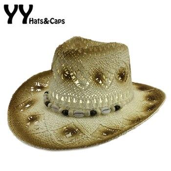 Paja sombrero de vaquero hombres verano playa vaquero del Oeste americano  mujeres Hollow Sol visera sombrero hecho a mano del vaquero con Conchas  yy17166 84533c000160