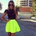 Fashin 2016 Short Mini Vestidos de Bola Verde Bud Faldas Para Chica de moda Estilo Casual Elástico de la Falda de Tafetán de Regreso A La Escuela faldas