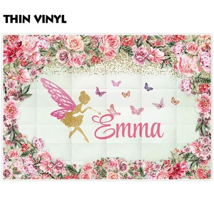 Image 3 - FunnyTree photography background pink flower frame Butterfly golden Custom name girl party birthday photozone backdrop elf vinyl