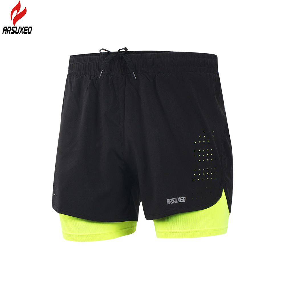 Arsuxeo 2017 New Running Shorts Men 2 In 1 Compression Marathon Quick Dry Gym Tights Sport Shorts with Reflective Zipper Pocket