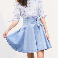 Korean Women Spring Vintage Denim Tutu Skirts Fashion Sweet High Waist A Line Skirts Bandage Bow