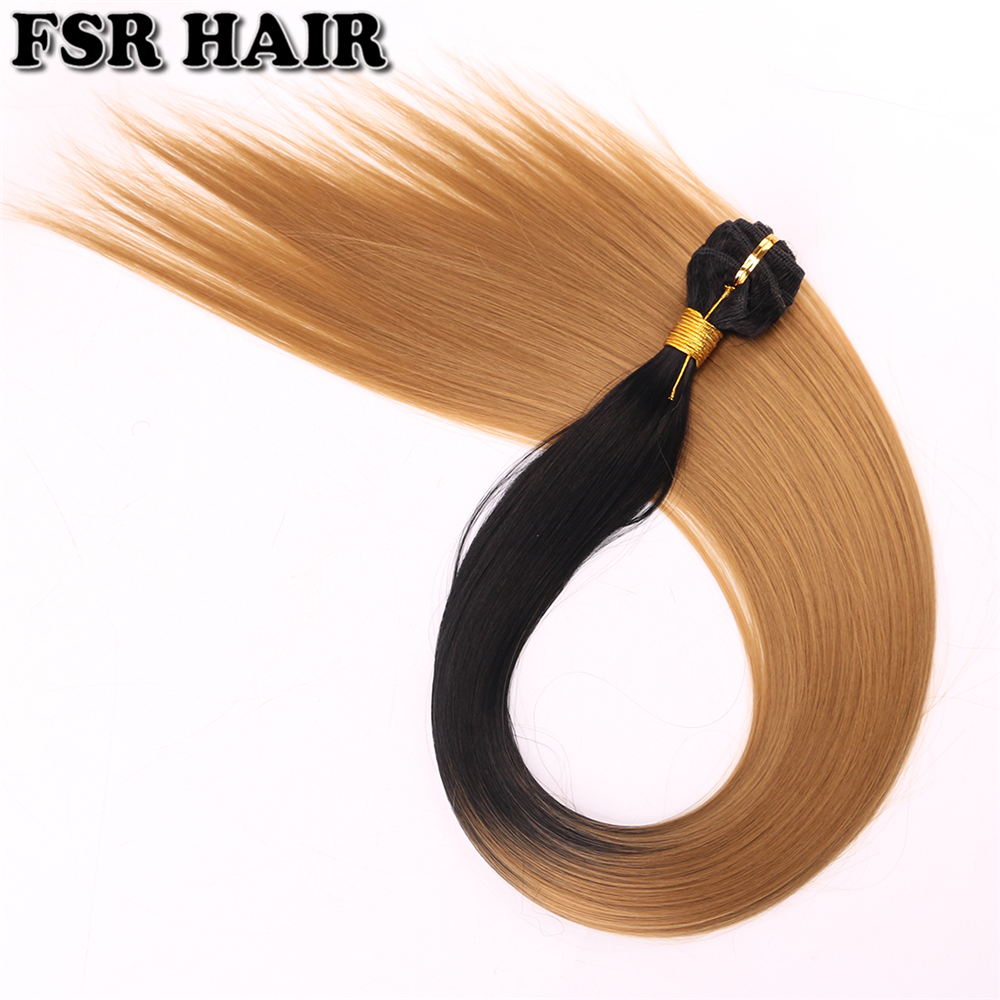 Black To Golden Straight Hair Weave 100 Gram/pcs Ombre Synthetic Hair Bundles For Women