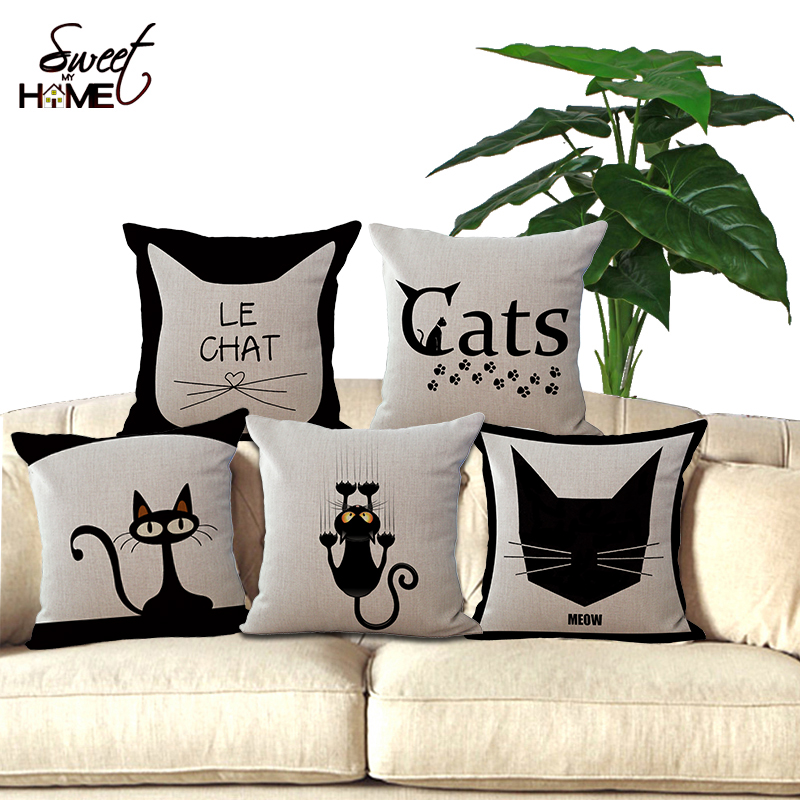 Cushion: 18″Black Cute Cat Printed Decorative Sofa Throw Pillow Chair Seat Cushion Without Filling Home Decor For Living Room Bed Room