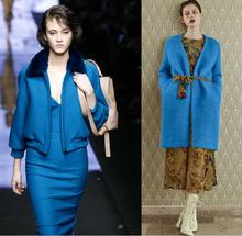 Blue Thickened Knitting thick cashmere wool fabric dress coat printing super hollandais sequin design college fabric A259 цена и фото