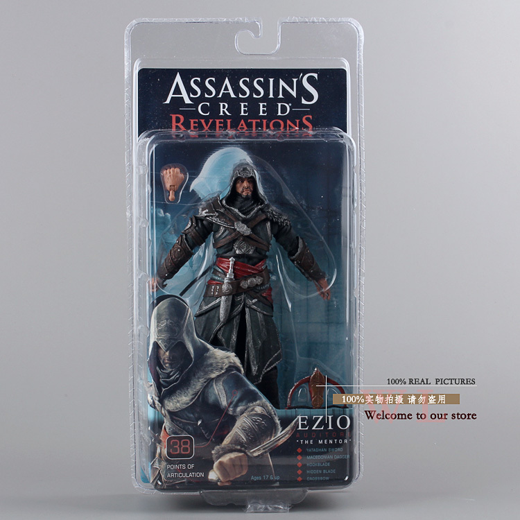ФОТО 2014 new NECA  Original Assassins Creed 2  EIZO   Black dress with a bow  version action figures Wholesale Christmas gifts