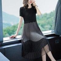 Black Dresses Summer 2019 New Black Dresses Women's Wear Temperament Short Sleeve Medium length A shaped ISSEY dresses 109A67