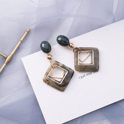 AOMU coréen bleu géométrique acrylique irrégulière cercle creux carré balancent des boucles d'oreilles pour les femmes en métal bosse fête plage bijoux 22