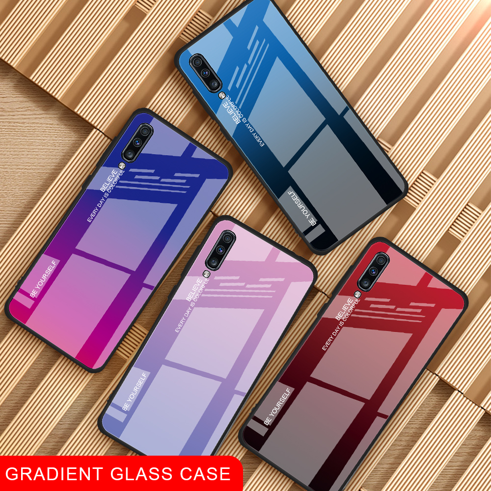 GerTong Tempered <font><b>Glass</b></font> Phone <font><b>Case</b></font> For <font><b>Samsung</b></font> Galaxy A50 A70 A30 A40 A20E <font><b>A10</b></font> A20 A80 <font><b>Case</b></font> On SM A505FN Back Cover Coque A50 image