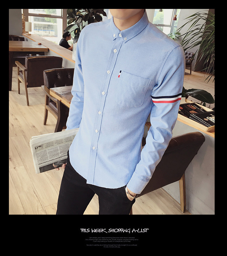 2017 New autumn men's casual tops brand shirt striped Strip decorate cotton men fashion solid color long sleeved Shirts M-XXXL 72