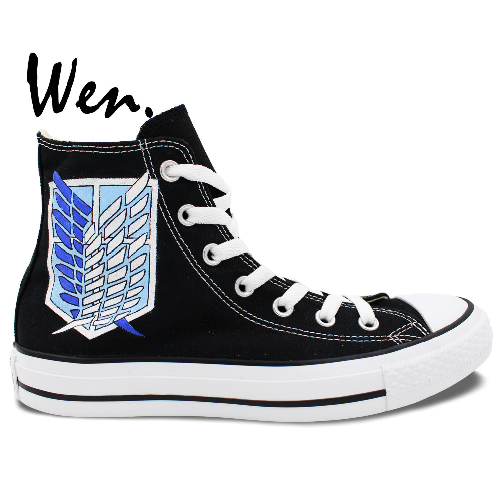 ФОТО Wen Hand Painted Black Canvas Shoes Anime Design Custom Attack On Titan Military Police Men Women's High Top Canvas Sneakers