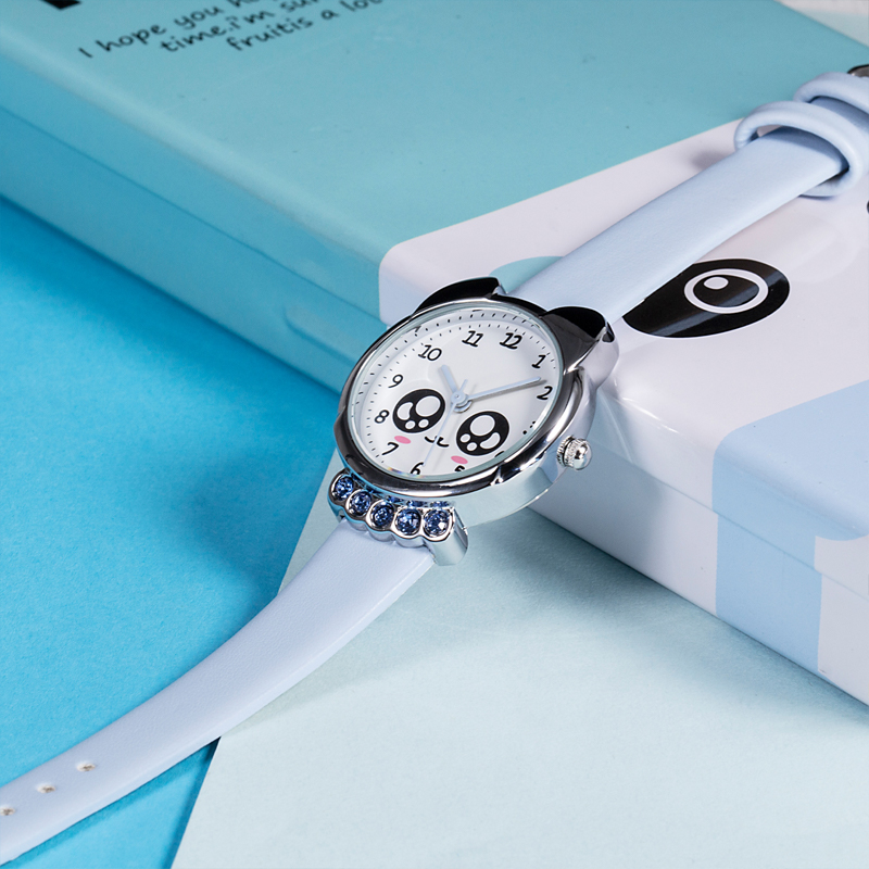 KDM 2019 Girl Watch Kids Cute Fox Genuine Leather Watches Luxury Diamond Waterproof Lovely Kid Children Wristwatch Student Clock