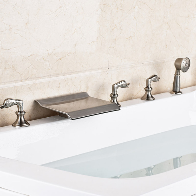 Brushed Nickel Widespread Bathtub Faucet Deck Mounted 5pcs Waterfall  Bathroom Tub Filler With Handshower