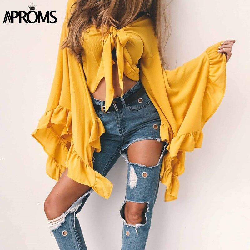 Aproms Sexy V Neck Bow Tie Cross Tops Women Summer Black Long Sleeve T Shirt Crop Top Ladies Slim Cropped Tee Shirt Femme 40757