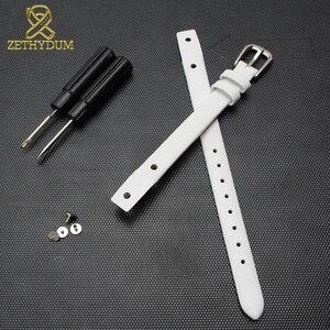 Image 5 - Bracelet montre en cuir véritable pour femme, petit bracelet à la mode, 7mm, 8mm, avec vis, pour fossil ES4340, ES4119, ES4000, bracelet de montre